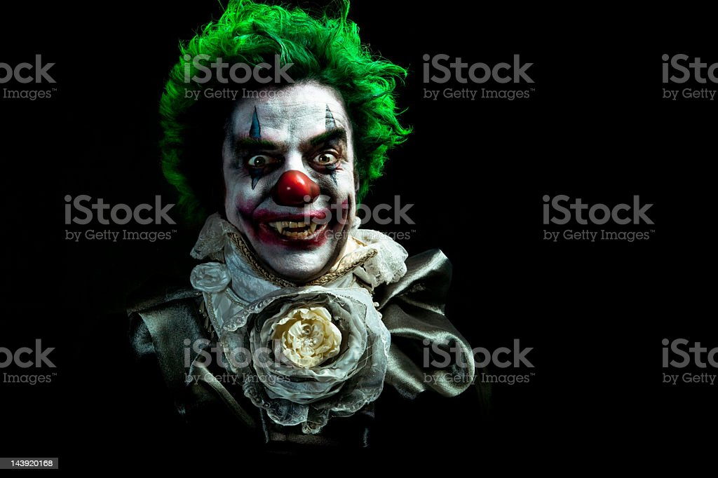Illustrated image of an evil vampire clown stock photo