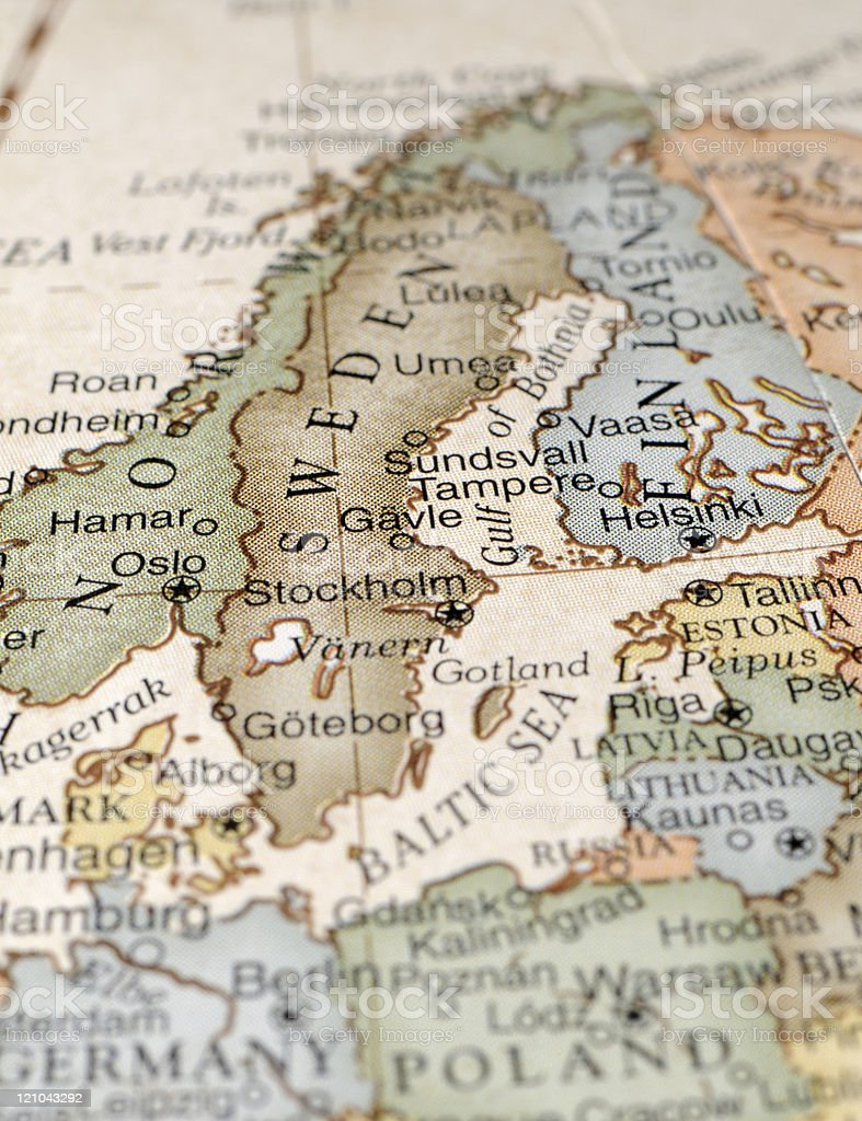 Illustrated map including Scandinavia stock photo