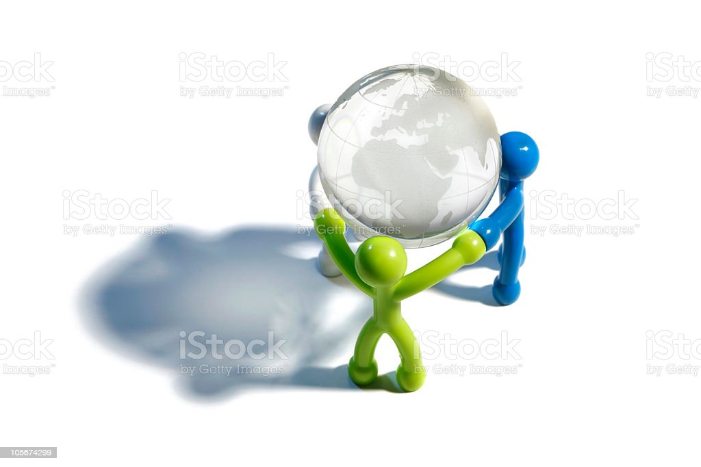 Illustrated people holding globe on white surface royalty-free stock photo