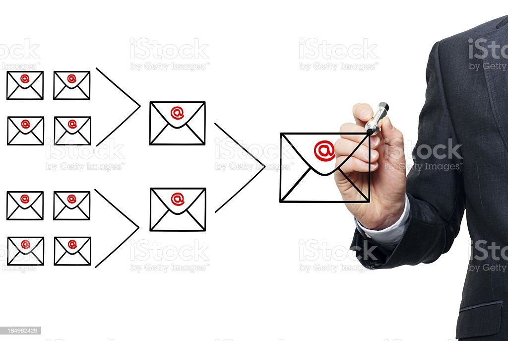 Illustrating the concept of email marketing royalty-free stock photo