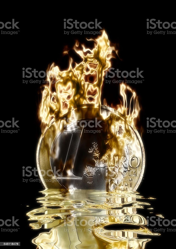 3D Illustration; 3D Rendering of a burning Euro stock photo