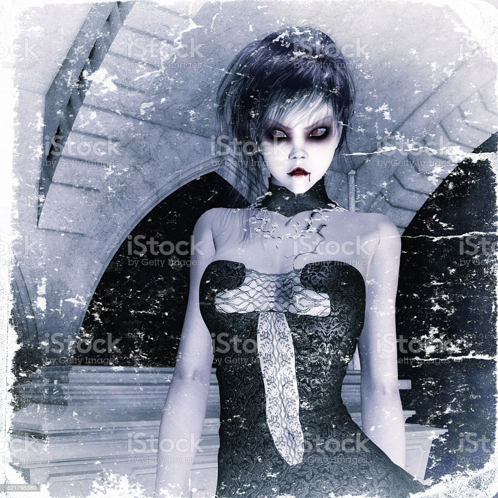 3D Illustration; 3D Rendering of a gothic Female stock photo