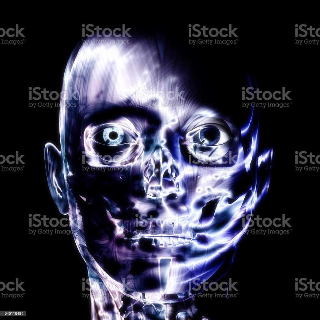 3D illustration, 3d Rendering of a human Skull stock photo