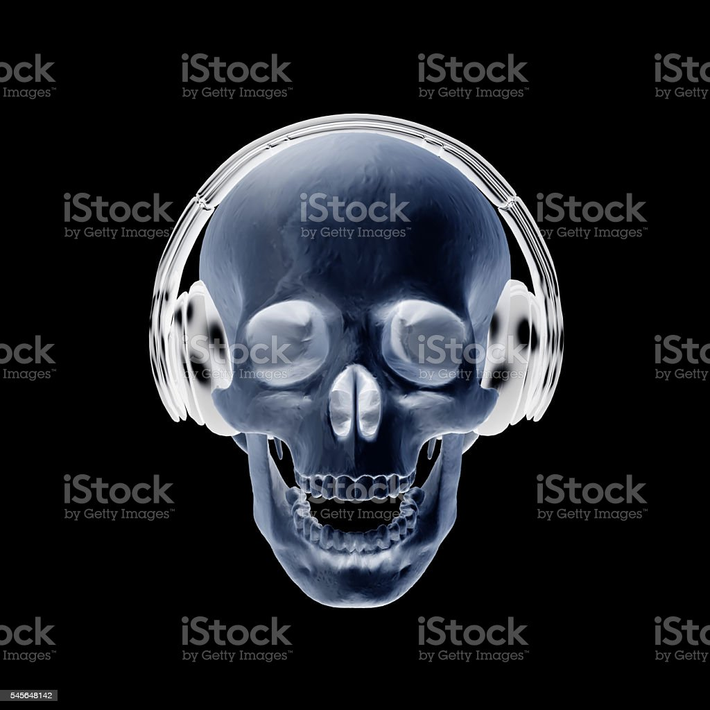3D illustration abstract skull with headphone. stock photo