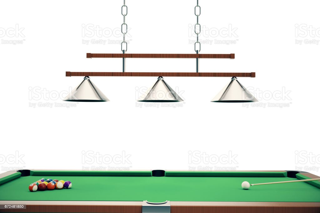 3D illustration Billiard balls in a green pool table, pool billiard game, Billiard concept stock photo