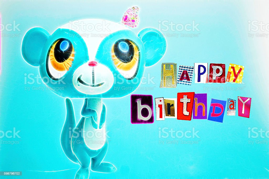 Illustration children birthday card with colorful letters stock photo