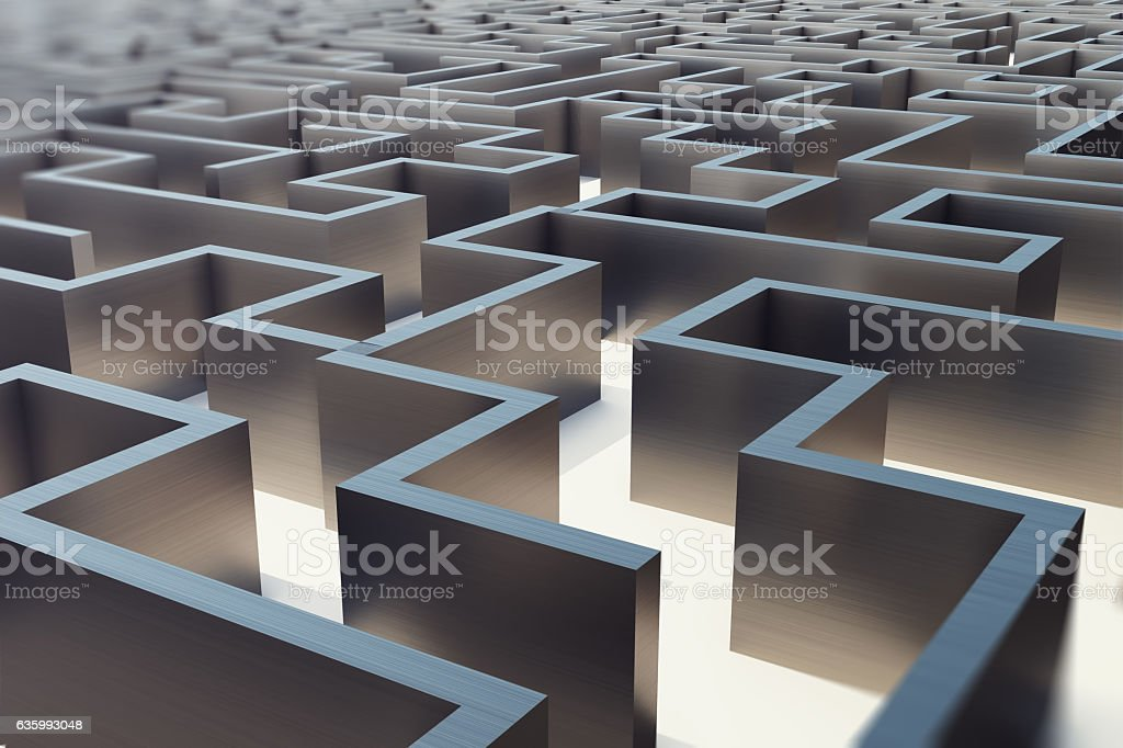 illustration cocrete labyrinth, complex problem solving concept stock photo