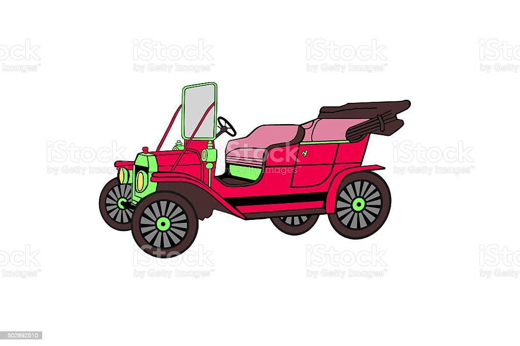 Illustration. Colourful, red retro car. stock photo