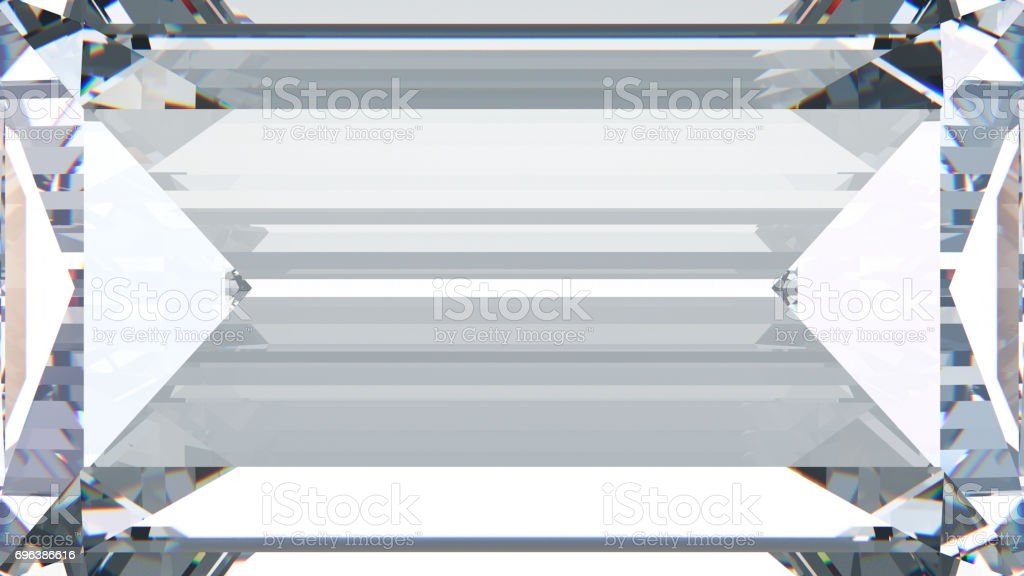 3D illustration crop baguette diamond macro zoom stock photo