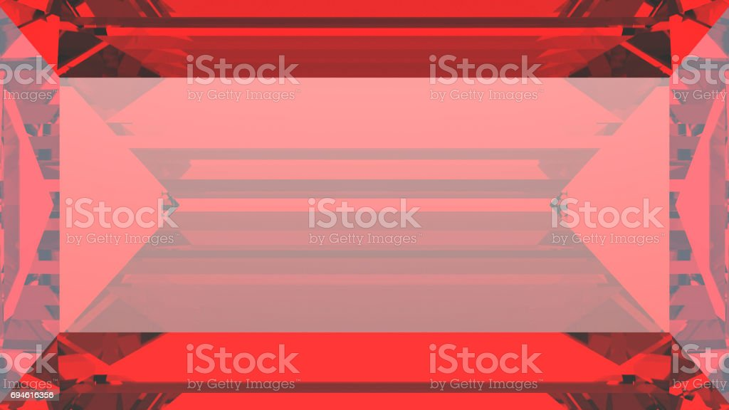 3D illustration crop red ruby diamond macro zoom stock photo