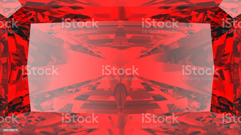 3D illustration crop red ruby diamond texture zoom stock photo