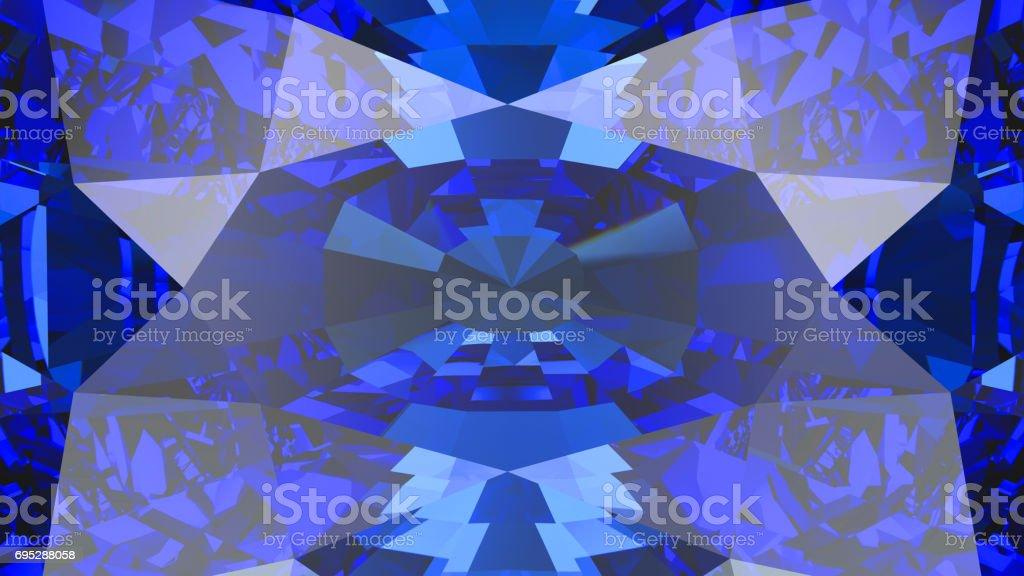 3D illustration crop sapphire diamond macro zoom stock photo