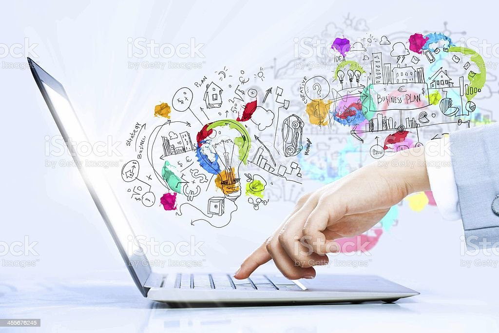 Illustration depicting creativity from a laptop stock photo