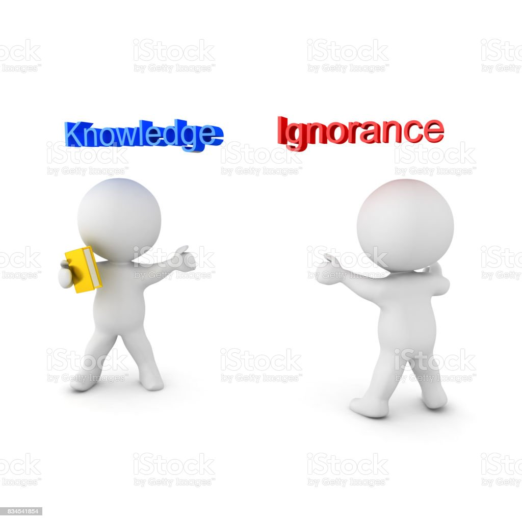 3D illustration depicting the concept of Knowledge versus Ignorance stock photo