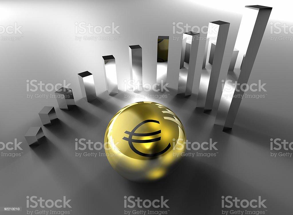 3D illustration, Euro chart. stock photo
