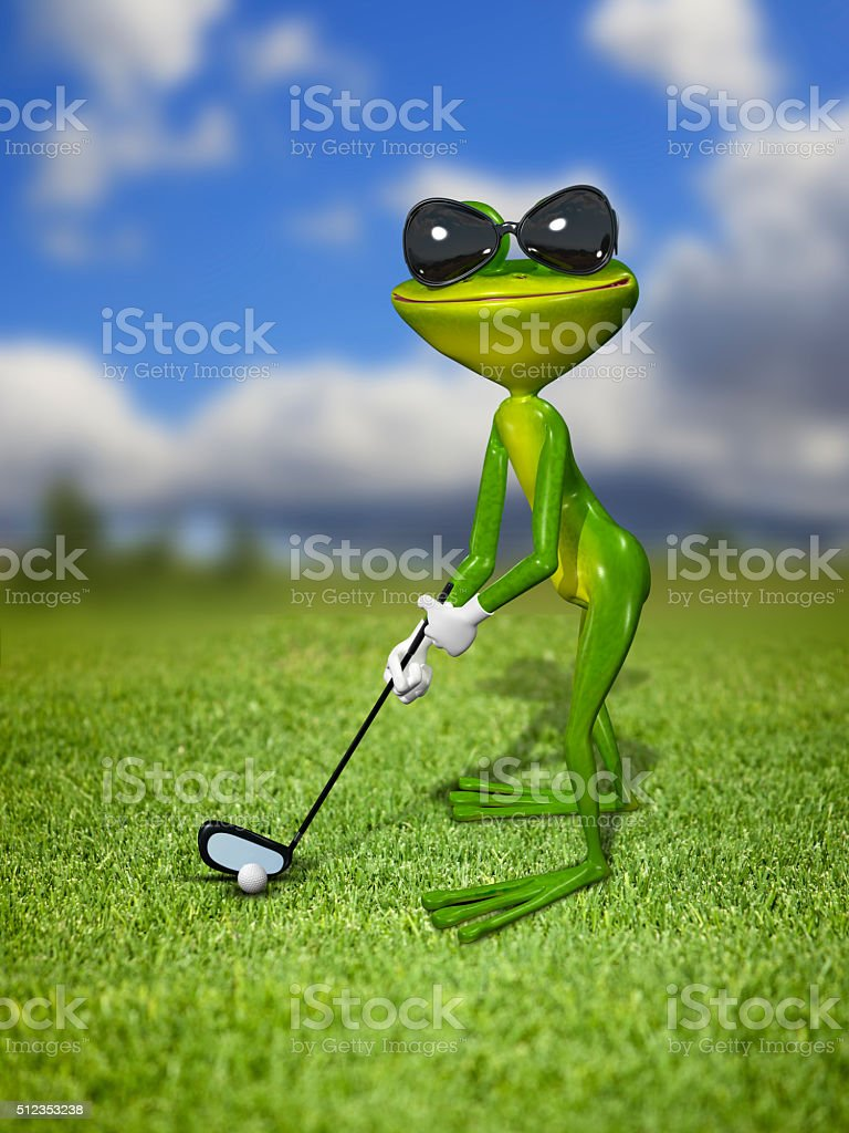 Illustration frog golfer on a green lawn stock photo