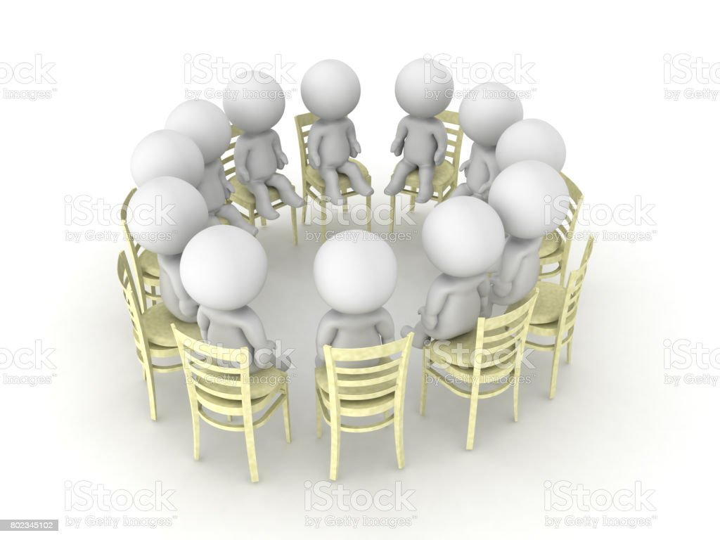 3D illustration from an angle of a twelve step program help group stock photo