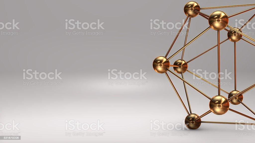 3D Illustration, Gold Atom isolated white background royalty-free stock photo