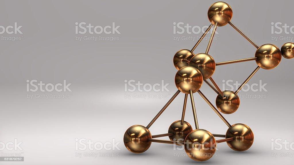 3D Illustration, Gold Atom isolated white background stock photo