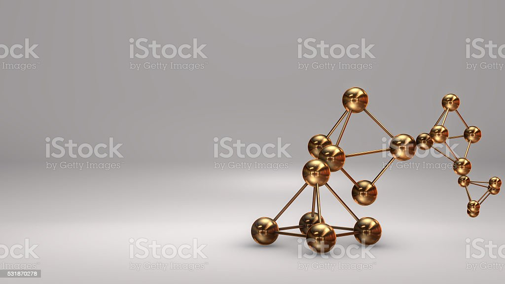 3D Illustration, Gold Atom isolated white background royalty-free stock photo
