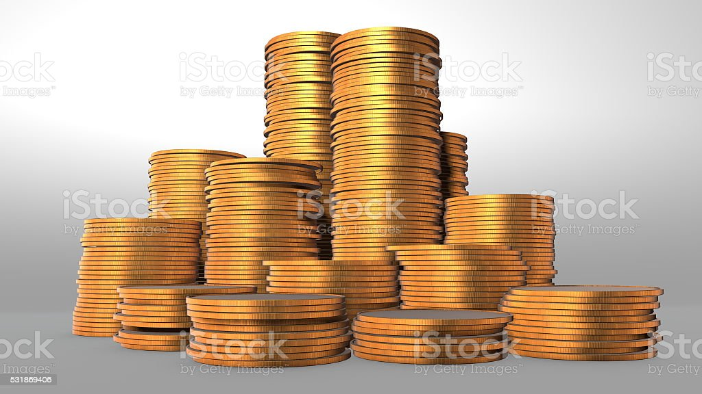 3D illustration, gold coin stack isolated on white royalty-free stock photo
