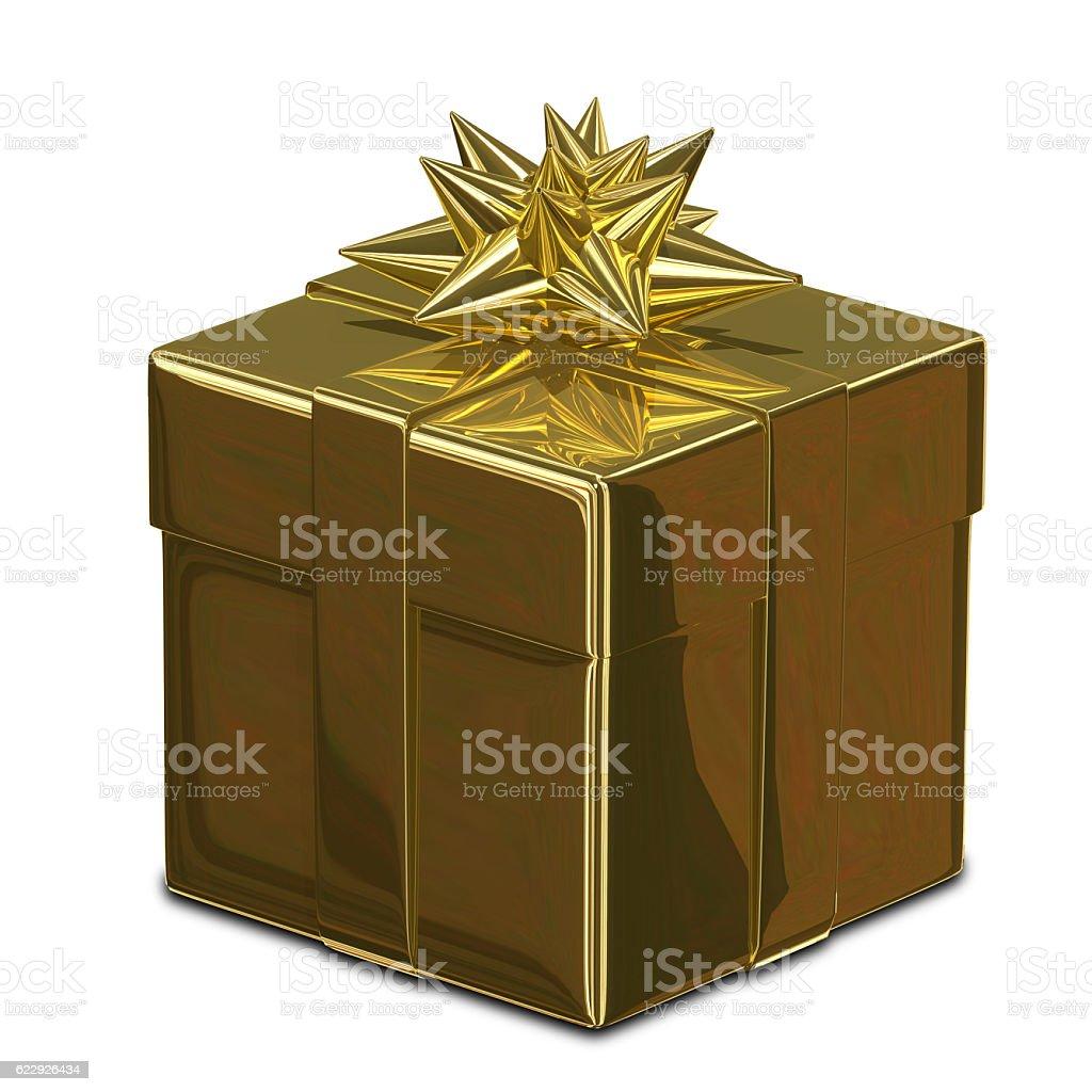 3D Illustration Golden Box stock photo