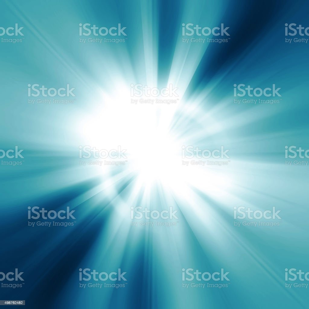 Illustration intense sun on a soft blue background stock photo