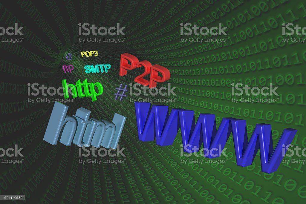3D Illustration: Internet terms and symbols in a green tube stock photo