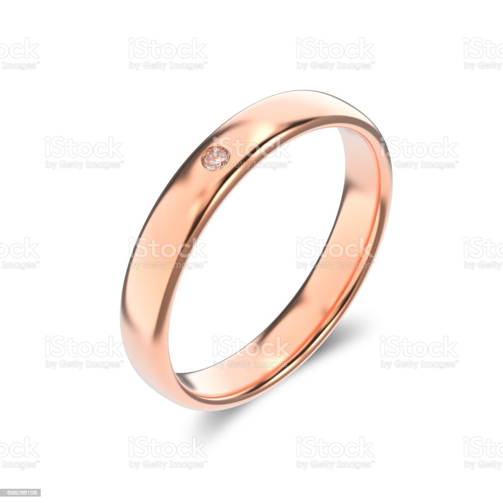 3D illustration isolated classic rose gold ring with a diamond on a white background stock photo