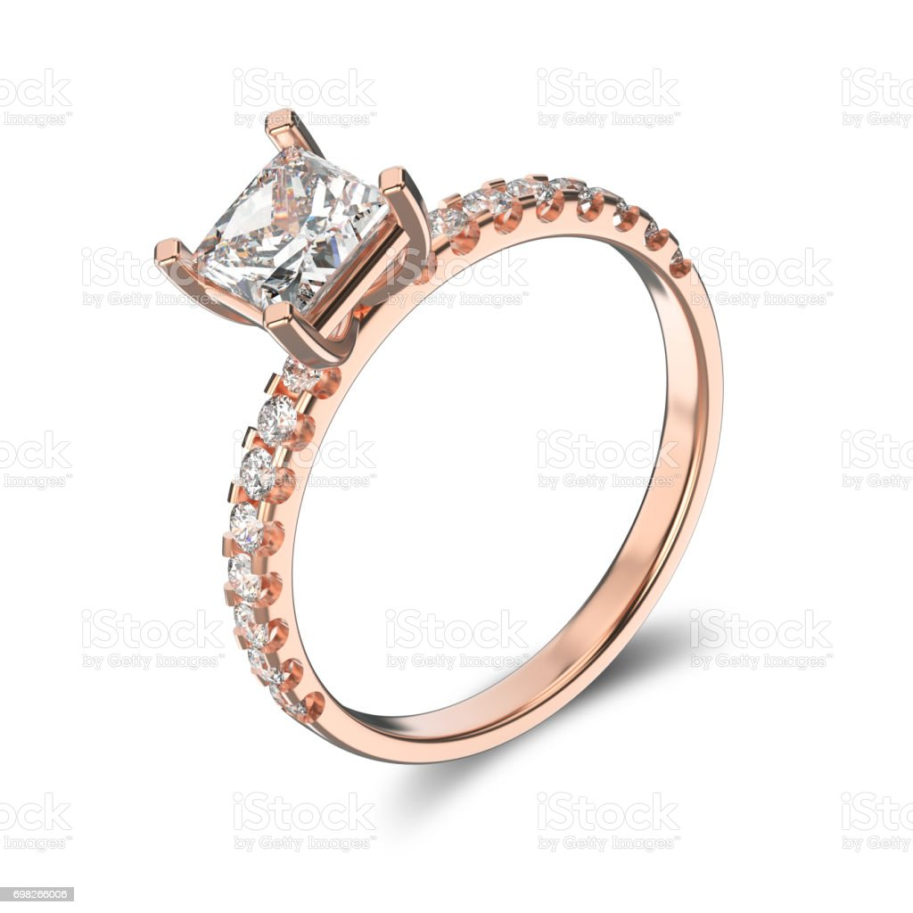3D illustration isolated classic rose gold ring with a diamonds on a white background stock photo