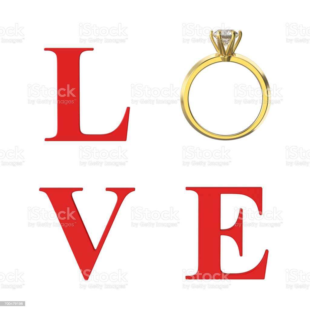3D illustration isolated red text word love with gold diamond wedding ring stock photo