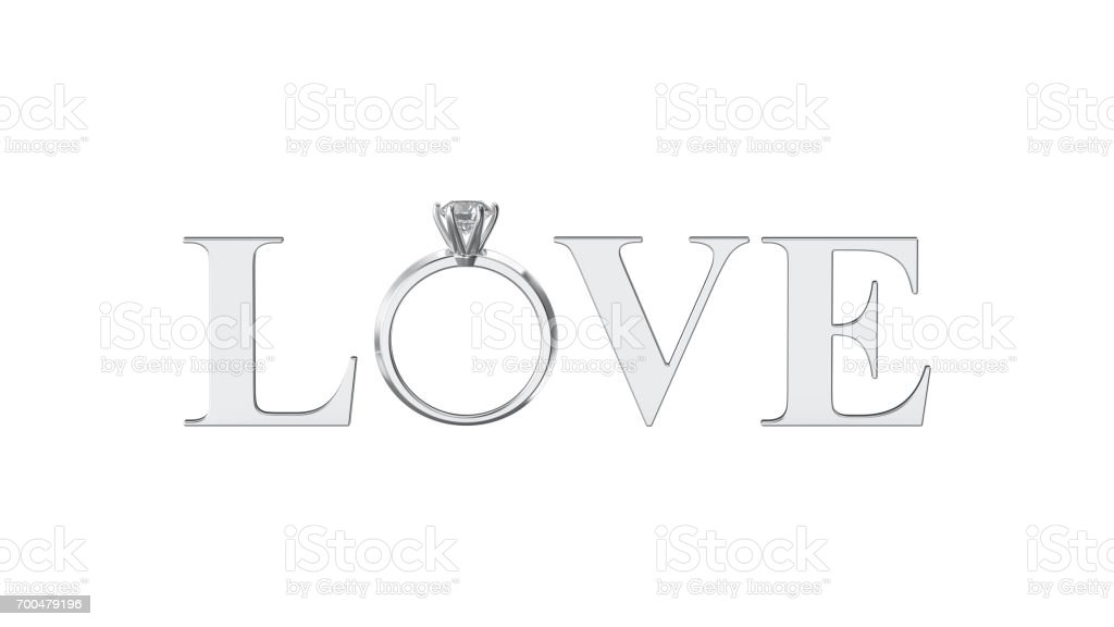 3D illustration isolated silver text word love with diamond wedding silwer ring on a white background stock photo