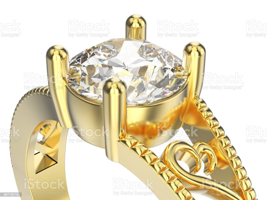 3D illustration isolated zoom macro yellow gold ring with diamonds and ornament stock photo