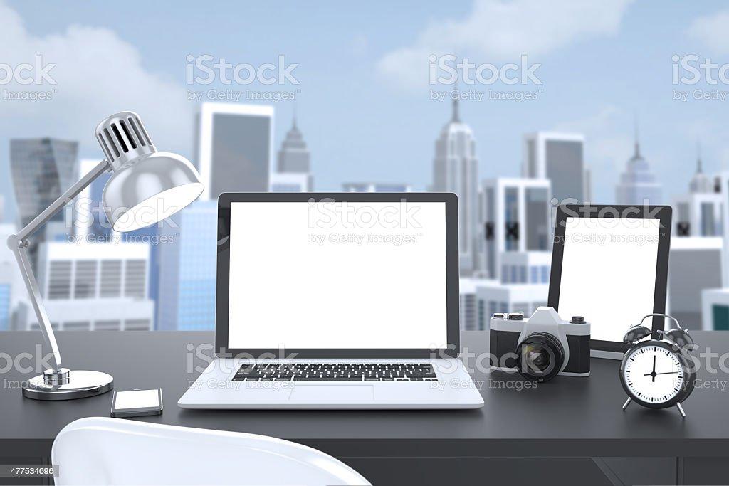 illustration laptop on table, Workspace stock photo