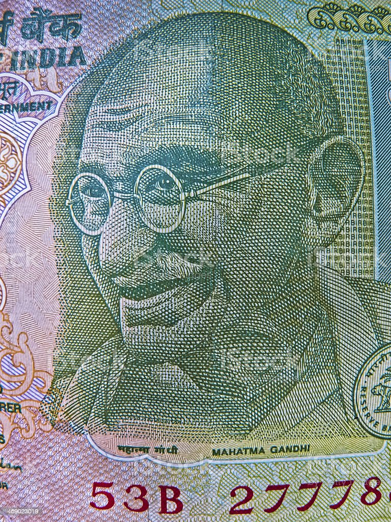 Illustration Mahatma Gandhi Indian currency, 5 (five) Rupe stock photo