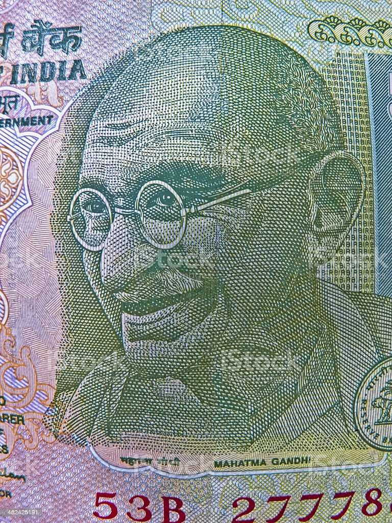 Illustration, Mahatma Gandhi on Indian currency, 5 (five) Rupees stock photo