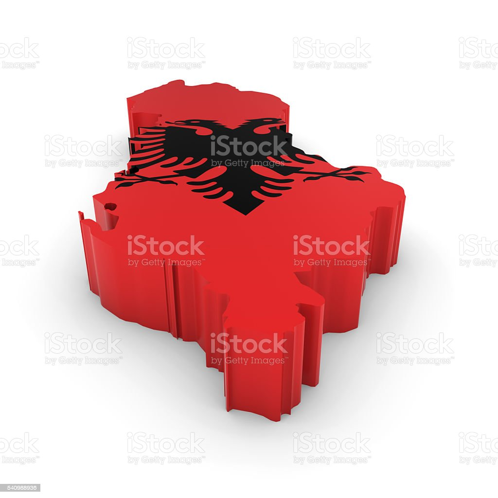 3D Illustration Map Outline of Albania with the Albanian Flag stock photo