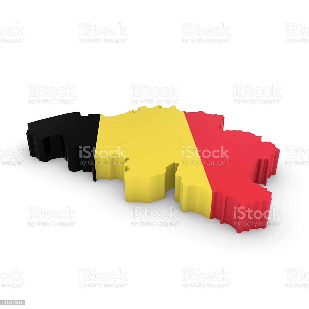 3D Illustration Map Outline of Belgium with the Belgian Flag stock photo