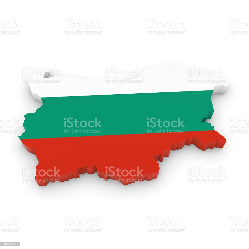3D Illustration Map Outline of Bulgaria with the Bulgarian Flag stock photo