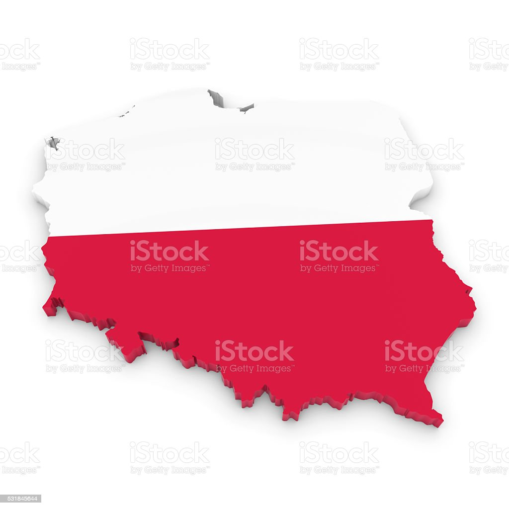3D Illustration Map Outline of Poland with the Polish Flag stock photo