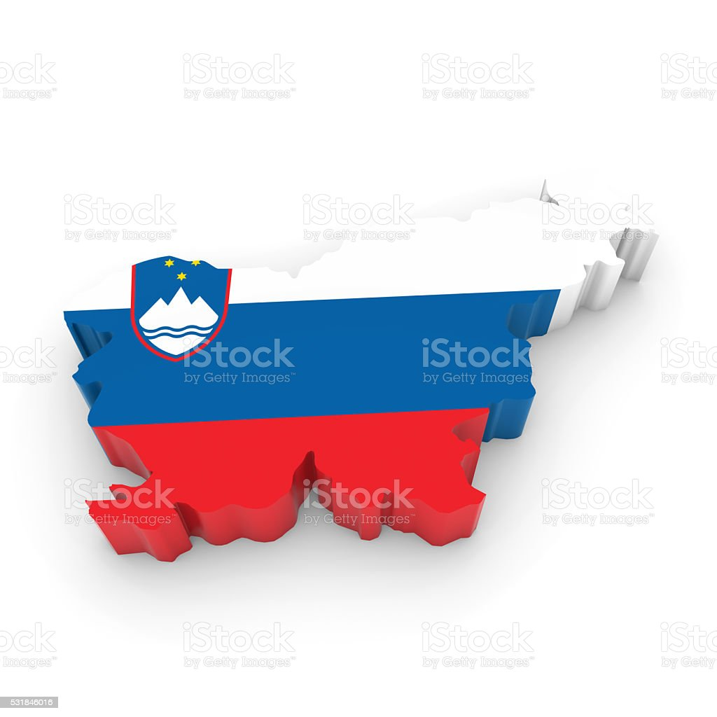 3D Illustration Map Outline of Slovenia with the Slovenian Flag stock photo