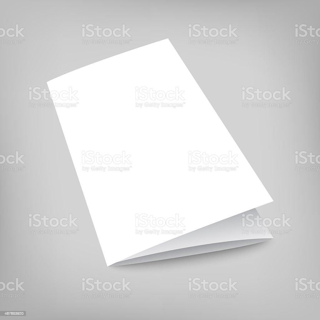 Illustration mock-up tri-fold flyer on gray stock photo