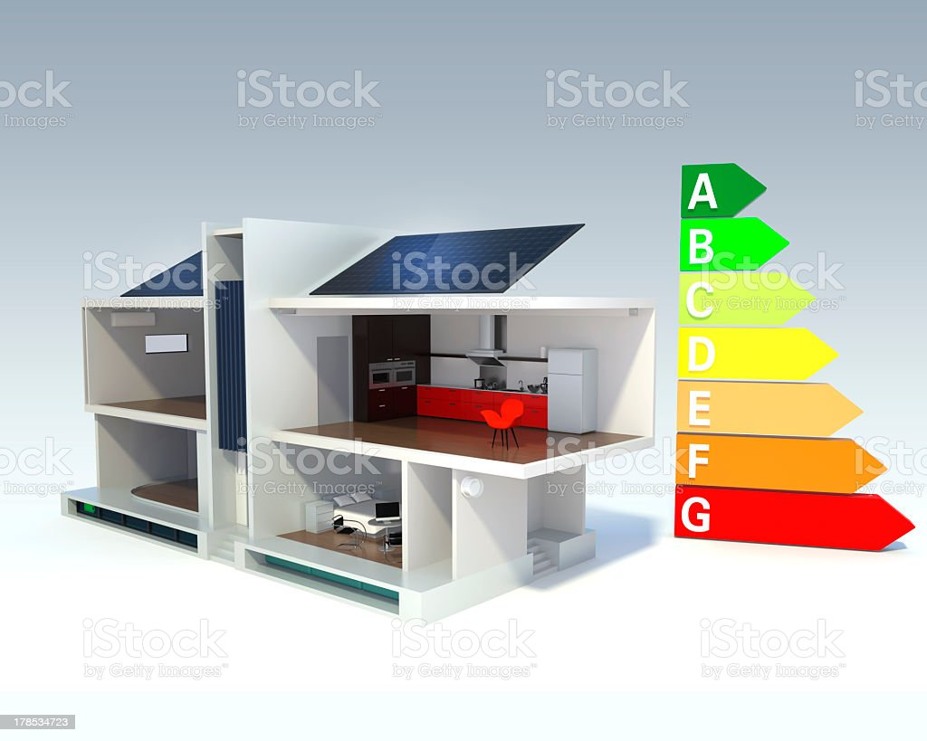 Illustration model of a smart house with solar panels stock photo