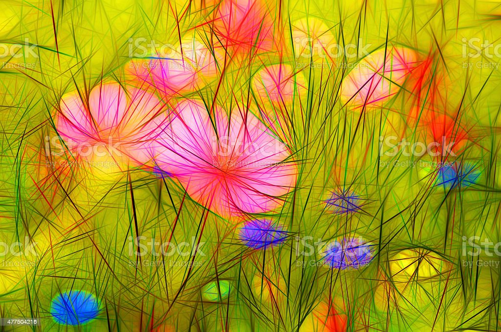 Illustration modern abstract colorful flower meadow stock photo
