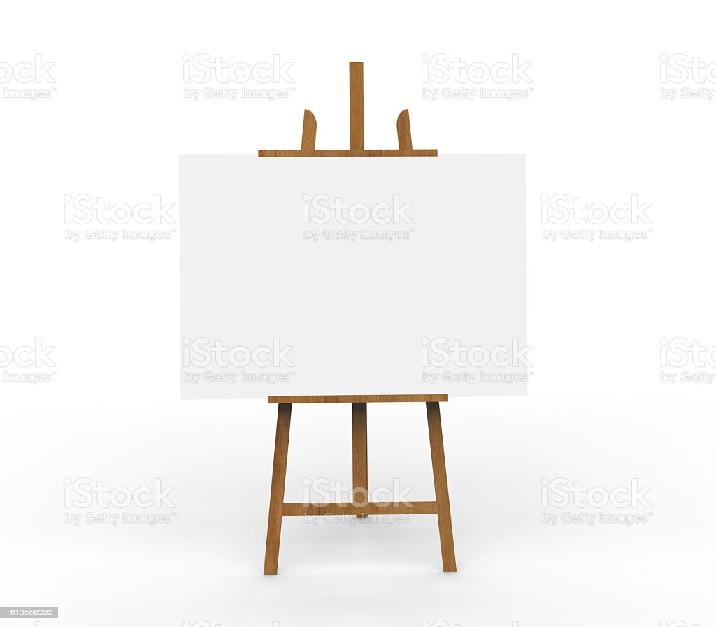 3D illustration ob blank canvas on a wooden easel stock photo