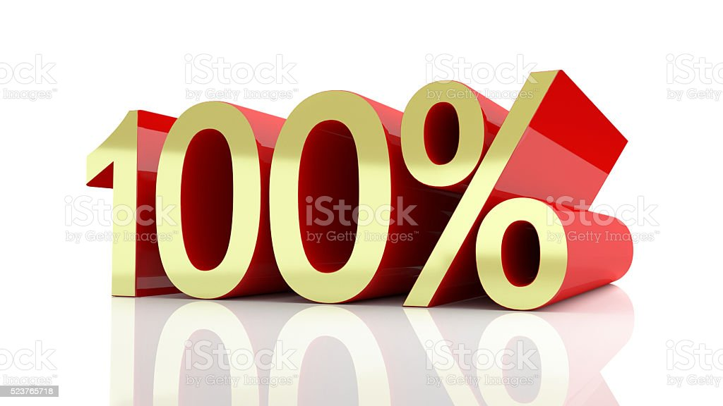 3D illustration of 100 percentage stock photo