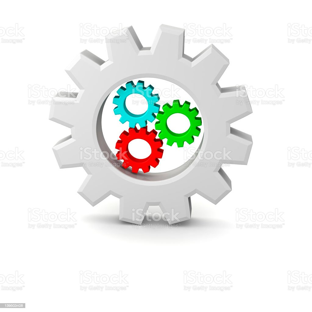 Illustration of 3d Wheel with three wheels inside royalty-free stock photo