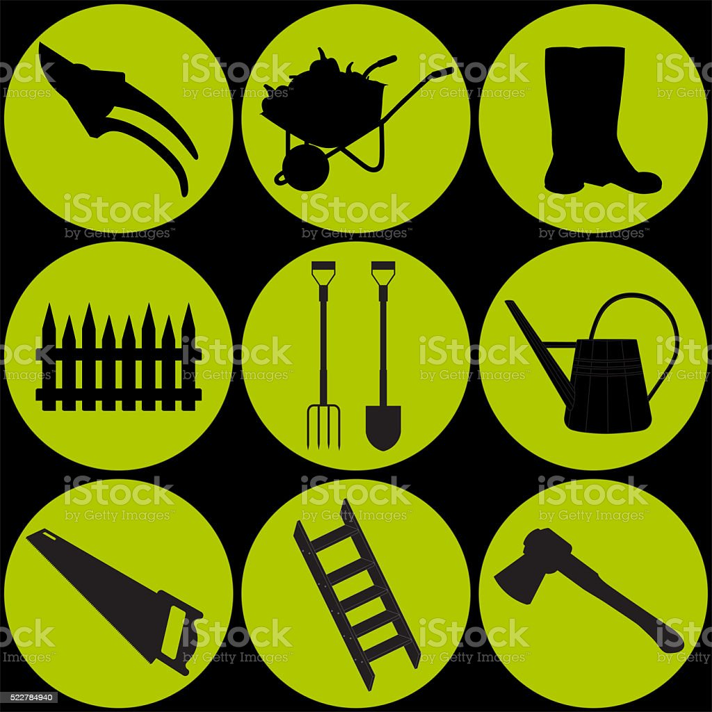 illustration of a a set of garden equipment stock photo