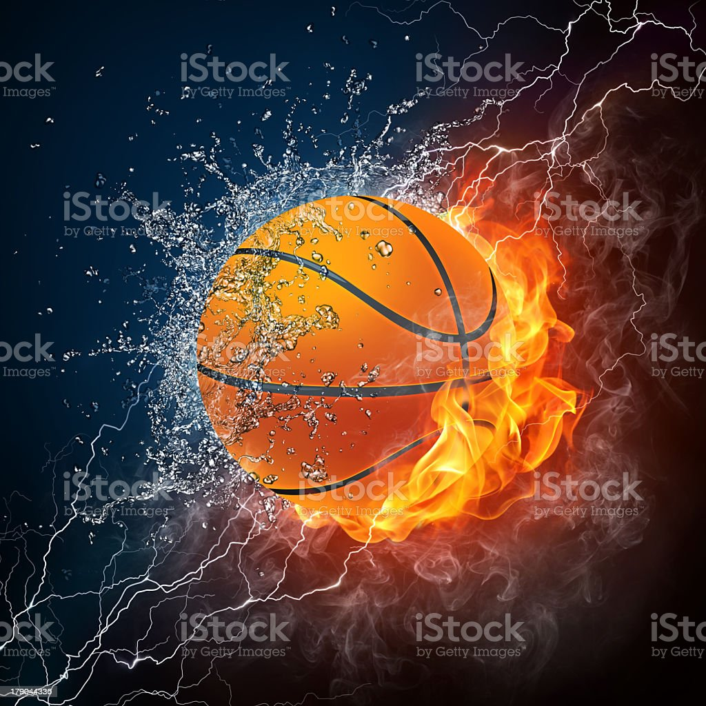 Illustration of a basketball half in water half in fire stock photo