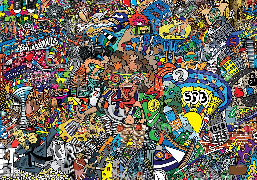 Illustration of a big sports collage stock photo